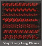Long Flames Set. A set of long flames, great for borders and for vehicle graphics Royalty Free Stock Images