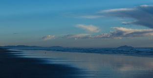 Long Flat Beach. Clean and flat long beach of Foxton Beach New Zealand Royalty Free Stock Photos