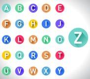 Long flat shadow alphabet on white background Stock Photo