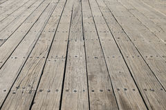 Long flat timbers of a new deck on a working dock on the New Eng Stock Images