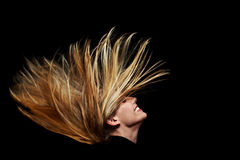 Long flying blonde hair Royalty Free Stock Image