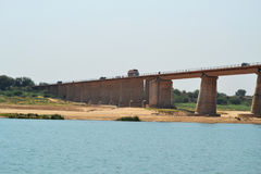 Long flyover bridge on chambal river of india Stock Photo