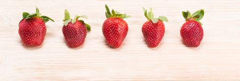 Long fond d'une série de fraises rouges Images stock