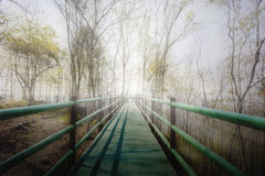 Long footpath or bridge in white fog to light at the end Stock Photo