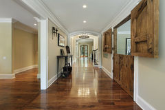 Long foyer with wooden barn doors Royalty Free Stock Photos