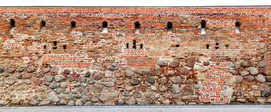 Long fragment of the old collapsing fortification of the Europea Stock Photos