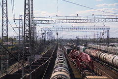 Long freight trains at railway station Royalty Free Stock Images