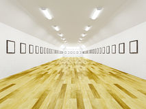 Long gallery with blank pictures Stock Photo