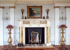 The Long Gallery Fireplace, Burton Agnes Hall, Yorkshire, England. The decorative fireplace surround in the Long Galley which is situated on the third floor and royalty free stock photography
