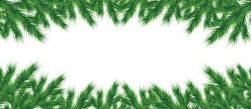 Long garland of Christmas tree branches isolated .Vector. A long garland of Christmas tree branches for a Christmas decor. Branches close-up. Vector. Drawing Royalty Free Stock Photography