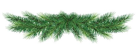 Long garland of Christmas tree branches . Realistic fir-tree bo. Christmas garland. Beautiful evergreen garland of Xmas tree branches isolated without shadow Stock Photo