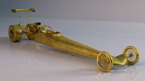 Long golden car Stock Images