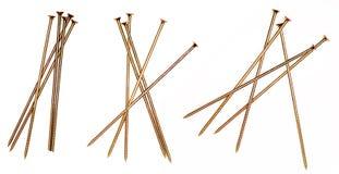 Long Golden Screws pile. stock photos