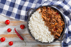Long-grain basmati rice with shredded pork meat Stock Images