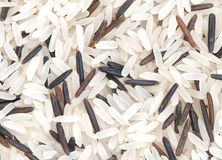 Long grain rice macro background. Long grain white and wild rice macro background Royalty Free Stock Photography