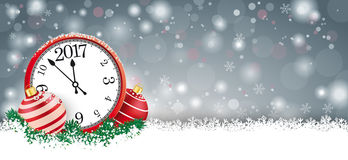 Long Gray Christmas Card Red Baubles Clock 2017. Gray christmas card with red baubles and clock with date 2017 on the snow Stock Images
