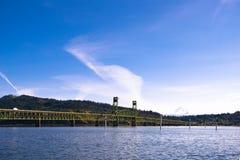Long green metal bridge on Columbia river Stock Photo