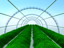 Long greenhouse. With garden beds. Glass tunnel Stock Photography