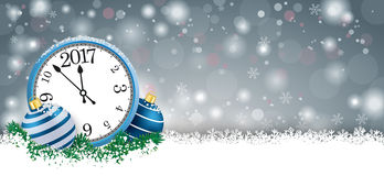 Long Grey Christmas Card Blue Baubles Clock 2017. Gray christmas card with blue baubles and blue clock on the snow Royalty Free Stock Photography