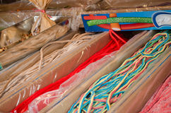Long gum sweetmeats in cardboard boxes Royalty Free Stock Image