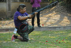 Long gun shooting in shooting sport challenge in thailand Stock Images