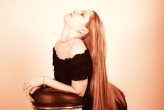 Long hair. Sexy shot of a pretty model with long beauy hair Royalty Free Stock Photos
