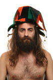 Long hair. Man with beard and hat royalty free stock photo
