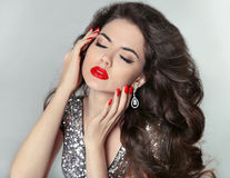 Long hair. Beauty Girl Portrait with red lips, Fashion Makeup an Royalty Free Stock Photography