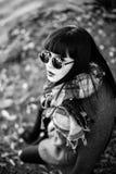Long hair brunette gir in sunglasses outdoor stock photo