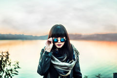 Long hair brunette gir in sunglasses outdoor royalty free stock photos