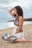 Long hair girl on beach stock photo
