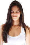 Long hair girl making grimace. Stock Photo