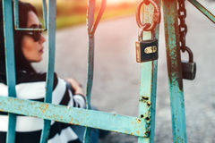 Long hair girl outdoor with old fence behind Royalty Free Stock Photo