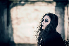 Long hair girl with scary makeup Royalty Free Stock Image