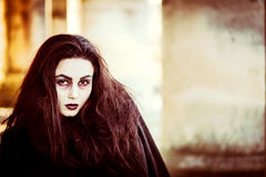 Long hair girl with scary makeup Stock Image