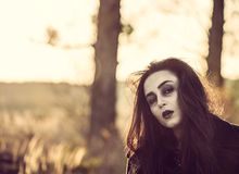 Long hair girl with scary makeup Royalty Free Stock Photography