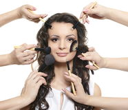 Long Hair Girl With Makeup Brushes Apply Make Up Stock Photo