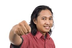 Long Hair Man Give Punch Royalty Free Stock Photography