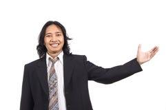 Long hair man pointing something Stock Photos