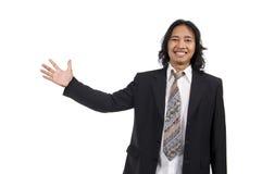 Long hair man pointing something Royalty Free Stock Photo