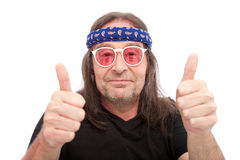 Long Hair Man Showing Two Thumbs up Stock Photography