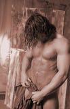 Long hair Man with towel Royalty Free Stock Photos