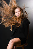 Long hair in motion. Beautiful long hair in motion created by wind Royalty Free Stock Photos