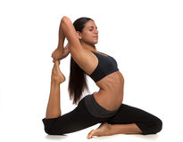 Long Hair Pretty Female Practicing Yoga Royalty Free Stock Photography