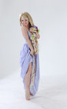 Long hair princess dancing. In studio Royalty Free Stock Photography