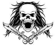 Long hair skull with daggers Stock Images
