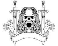 Long hair skull with swords Royalty Free Stock Photos
