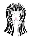Long hair style icon, logo women face Stock Images