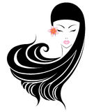 Long hair style icon, logo women face with flower on white background. Royalty Free Stock Photos