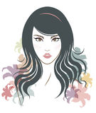 Long hair style icon, logo women face and flowers Royalty Free Stock Photo